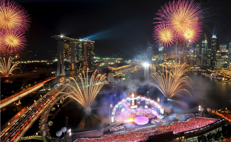 Fogos em Cingapura