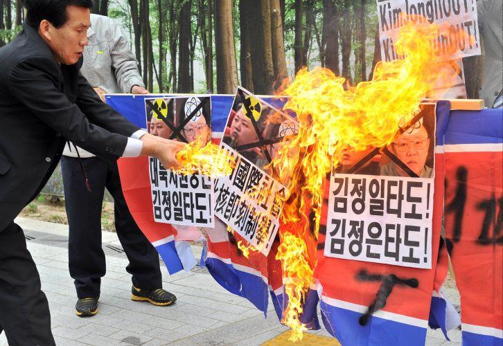 Manifestação na Coreia do Norte