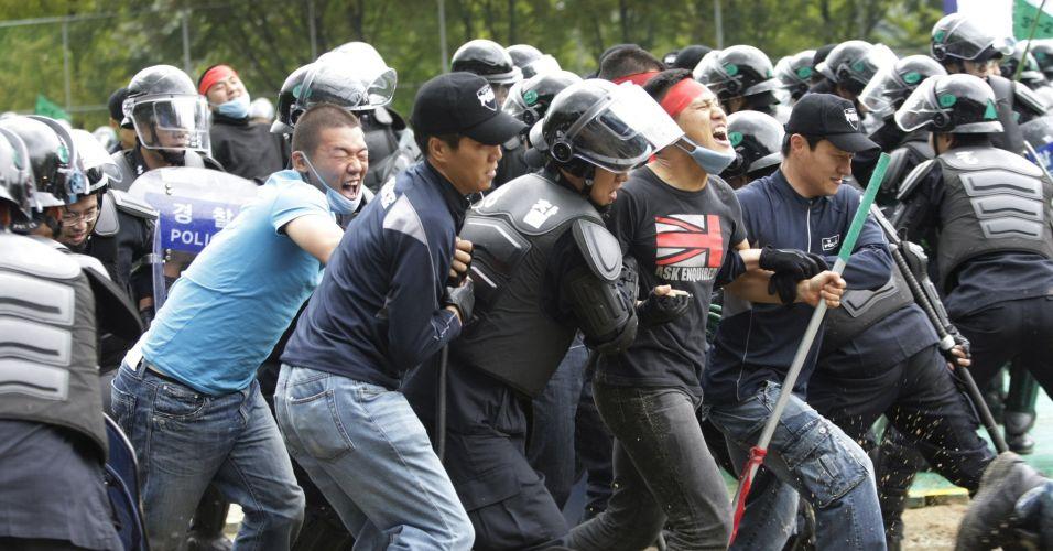 Demonstração de segurança em Seul