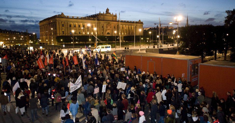 Protesto contra a direita em Estocolmo