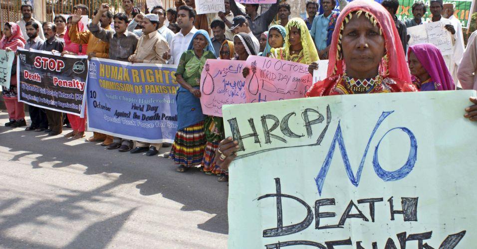 Manifestação contra pena de morte no Paquistão