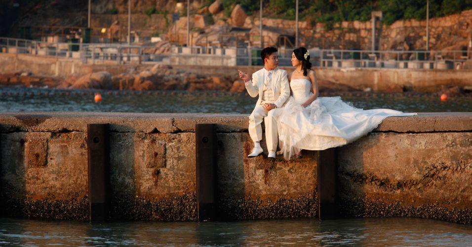 Casal em Hong Kong
