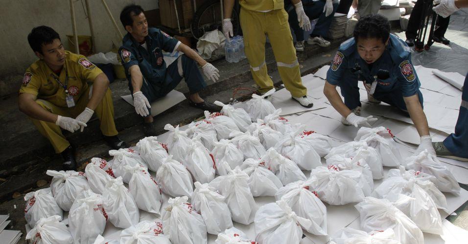 Fetos em decomposição recolhidos na Tailândia