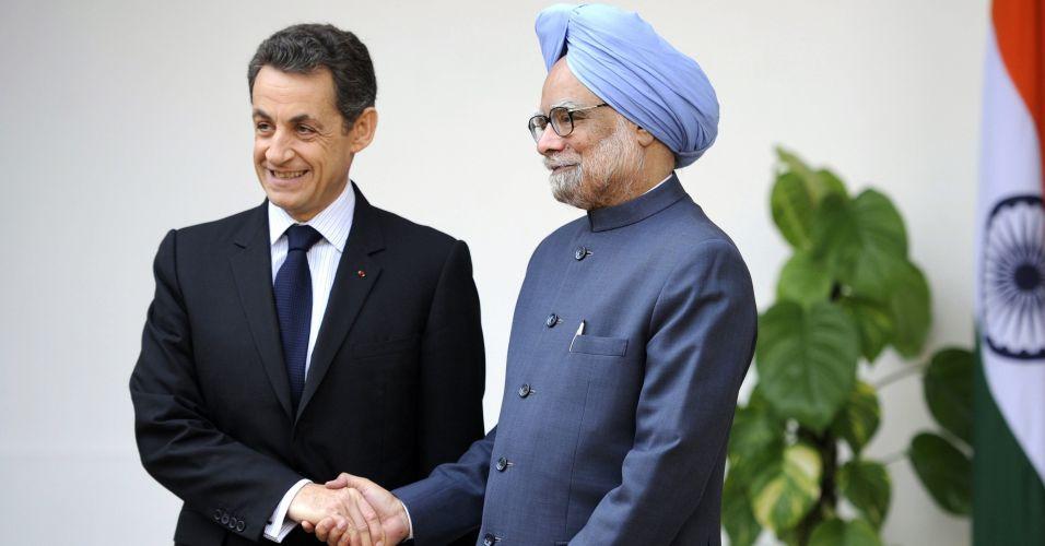 Encontro de presidente francês e primeiro-ministro indiano