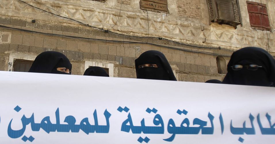 Professoras protestam no Iêmen