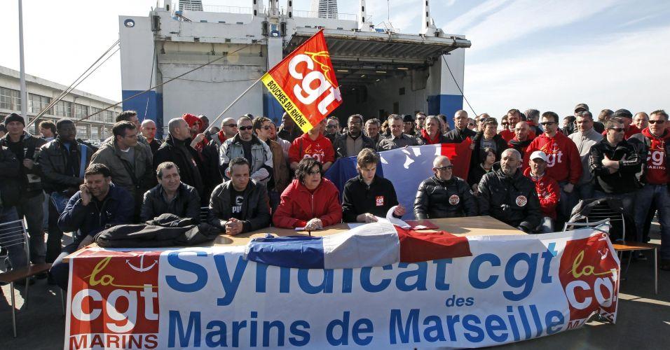 Marítimos em greve na França