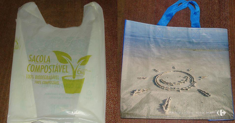 Sacola biodegradável e sacola retornável