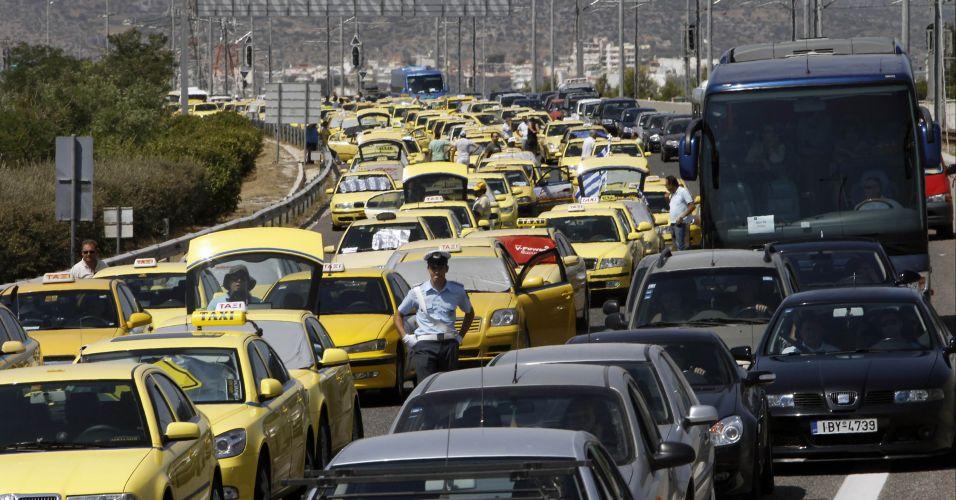 Protesto de taxistas na Grécia