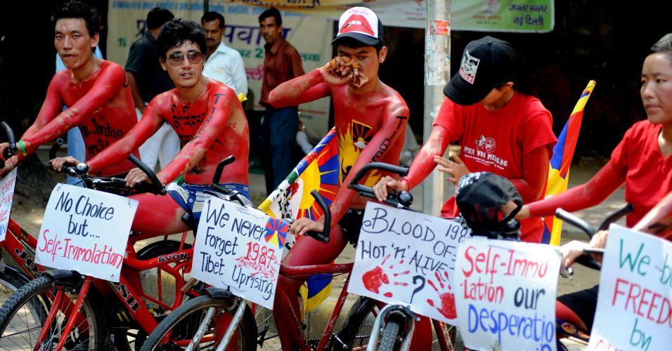 Tibetanos relembram protesto