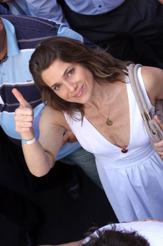 A atriz Letícia Spiller participa de protesto no centro do Rio de Janeiro contra o projeto que reduz os royalties do petróleo para os Estados produtores (Rio e Espírito Santo)
