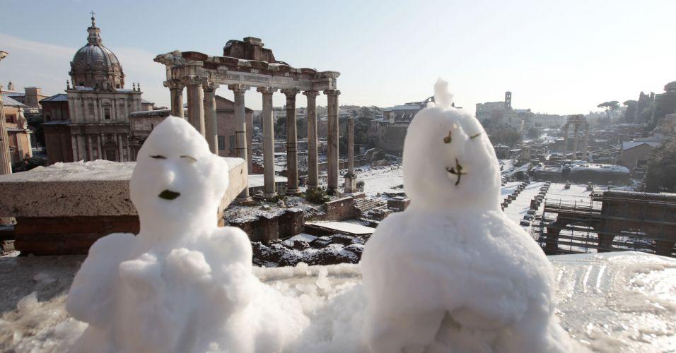 Bonecos de nevem em Roma