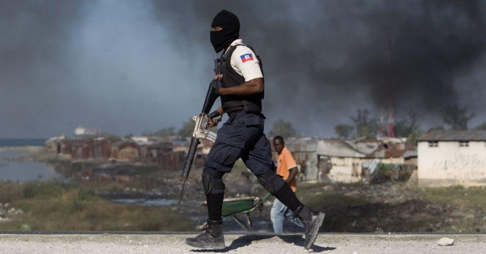 Protesto no Haiti