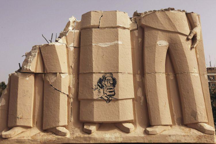 Estátuas destruídas na Líbia